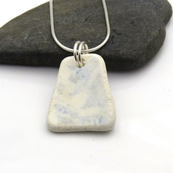 Blue and White English Beach Pottery Pendant Necklace