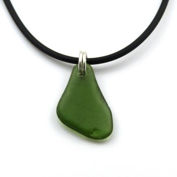 Deep Teal Sea Glass on Rubber and Sterling Silver Necklet