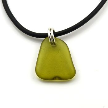 Peridot Sea Glass on Rubber and Sterling Silver Necklet
