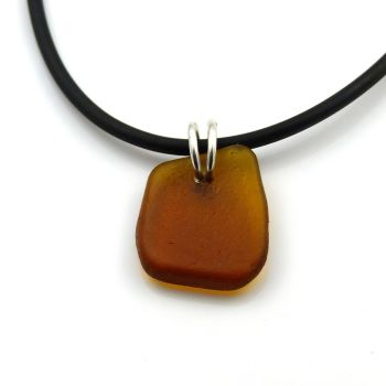 Amber Sea Glass on Rubber and Sterling Silver Necklet