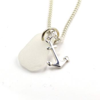 White Sea Glass and Silver Anchor Charm Necklace