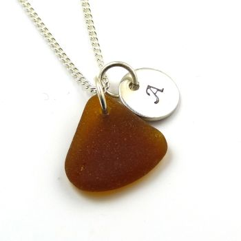 Handmade Personalised Silver Disc Necklace Amber Sea Glass