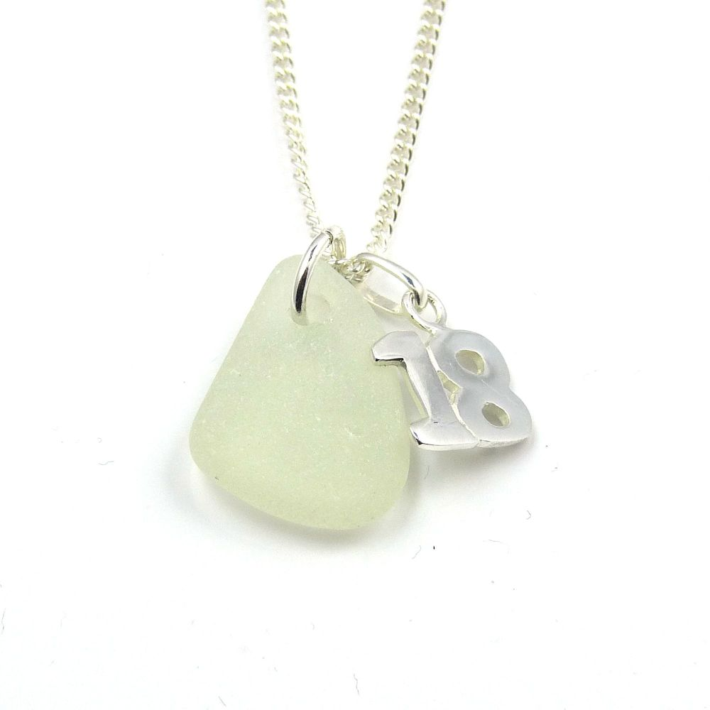 Seafoam Sea Glass Sterling Silver 18 Charm Necklace