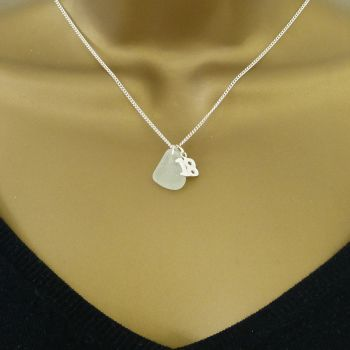 Seafoam Sea Glass Sterling Silver 18 Charm Necklace