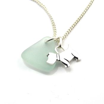 Pale Aqua Sea Glass Sterling Silver Scottie Dog Charm