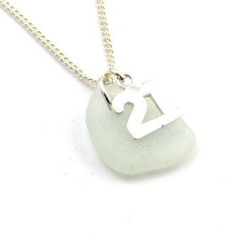 Seafoam Sea Glass Sterling Silver 21 Charm Necklace c239