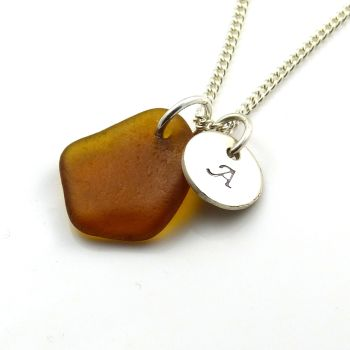 Handmade Personalised Silver Disc Necklace Caramel Sea Glass