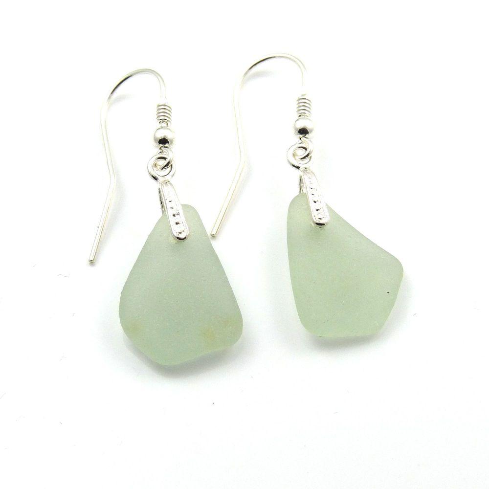 Seafoam Green Sea Glass Sterling Silver Earrings