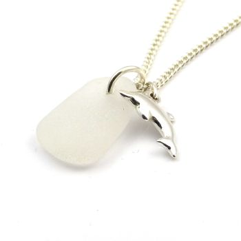 White Sea Glass and Sterling Silver Dolphin Charm Necklace