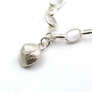 Sterling Silver Bracelet 7mm links with Solid Silver Periwinkle Shell
