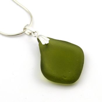 Moss Green Sea Glass Necklace AVA