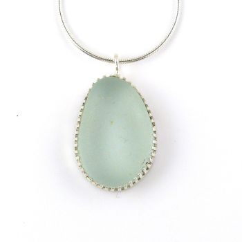 Bezel Set Seafoam Blue Sea Glass Pendant Necklace JENNA