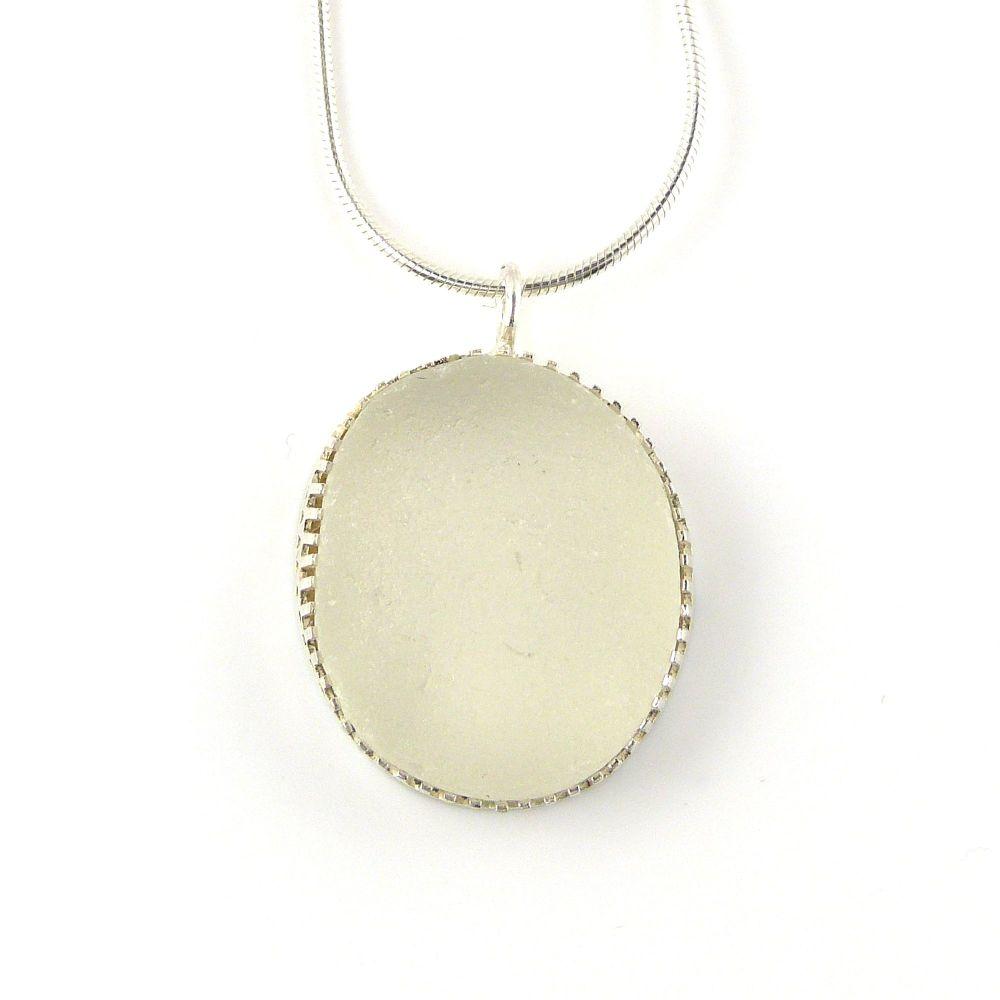 Snow White Bezel Set Sea Glass Pendant Necklace SOFIA