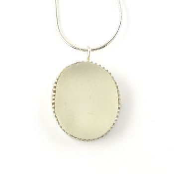 Snow White Bezel Set Sea Glass Pendant Necklace SOFIA