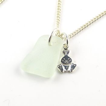 Seamist Sea Glass and Sterling Silver Rabbit Charm Necklace