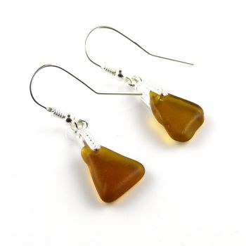 Caramel Sea Glass Sterling Silver Drop Earrings