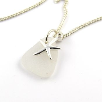 Snow White Sea Glass and Sterling Silver Starfish Necklace