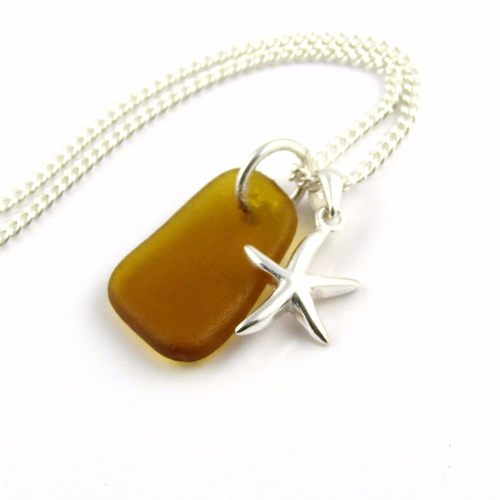 Caramel Sea Glass and Sterling Silver Starfish Necklace