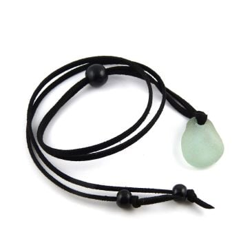 Sea Glass and Faux Suede Long Beach Necklace Seafoam Sea Glass