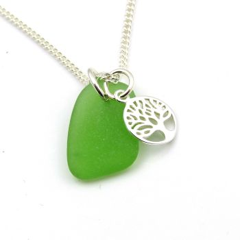 Sea Green Sea Glass and Sterling Silver Tree of Life Charm Necklace