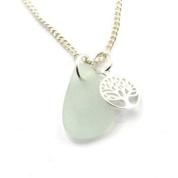 Lemonade Sea Glass and Sterling Silver Tree of Life Charm Necklace