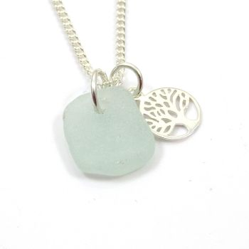 Seafoam Sea Glass and Sterling Silver Tree of Life Charm Necklace