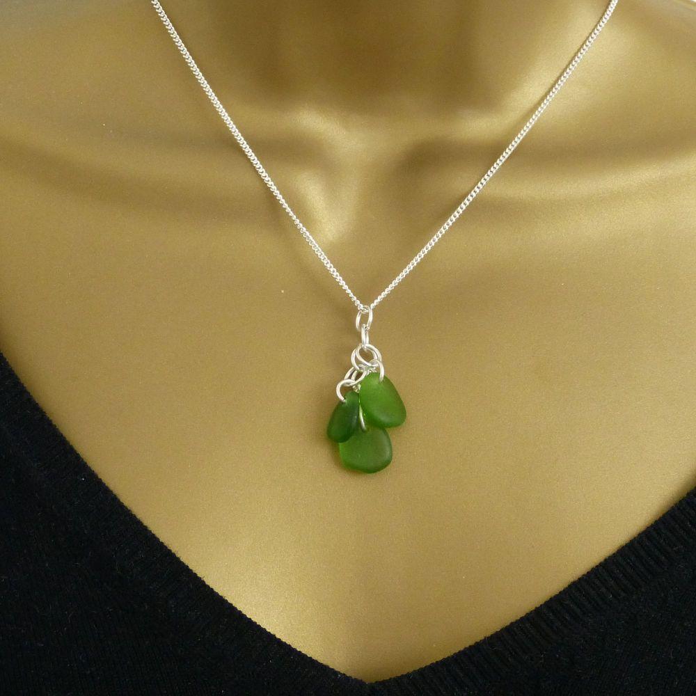 Emerald Green Sea Glass Cluster Necklace ALEXIA
