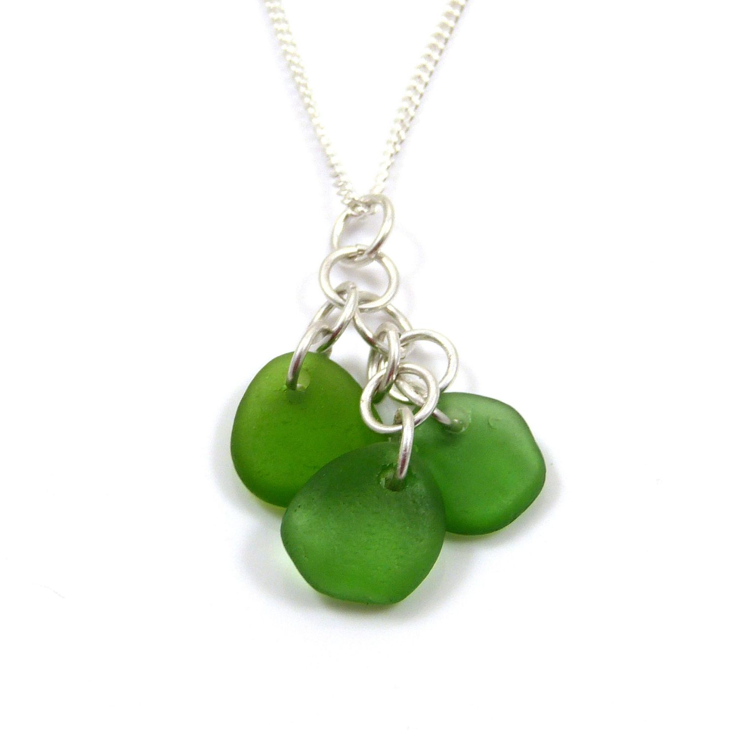 alexia emerald green sea glass cluster necklace (2)