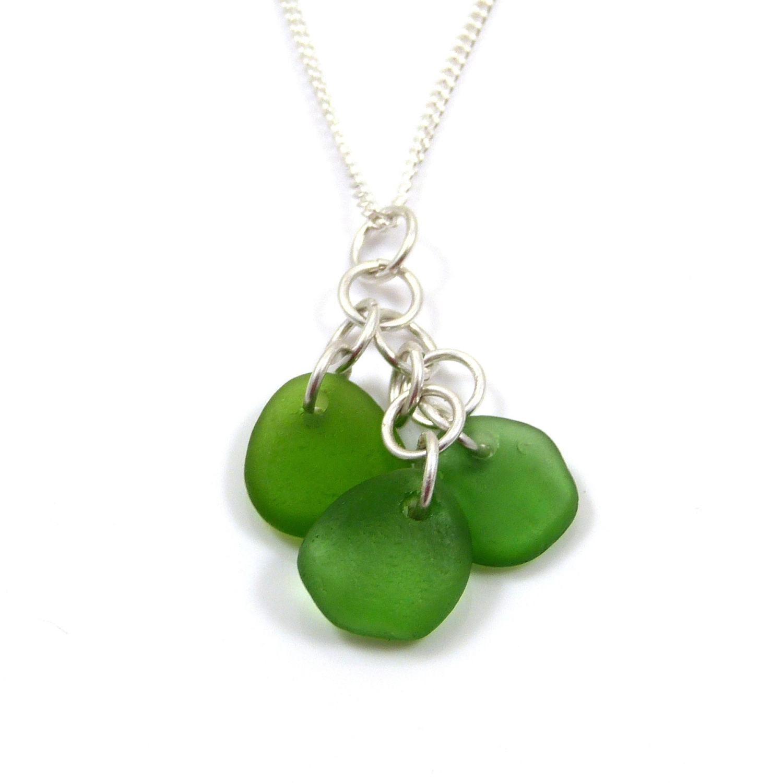 alexia emerald green sea glass cluster necklace (2)