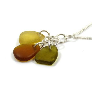 Citron, Peridot and Caramel Sea Glass Cluster Necklace KYRA