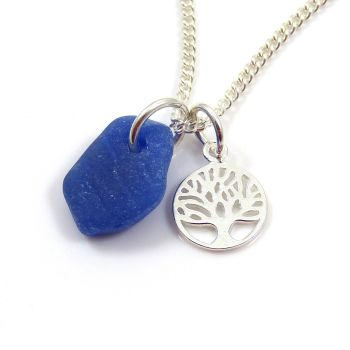 Cobalt Blue Sea Glass and Sterling Silver Tree of Life Charm Necklace