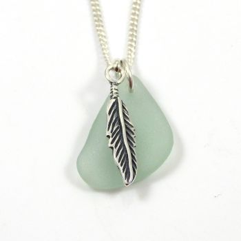 Seafoam Sea Glass and Sterling Silver Feather Necklace