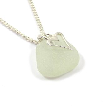Seamist Sea Glass and Sterling Silver Open Heart Charm Necklace