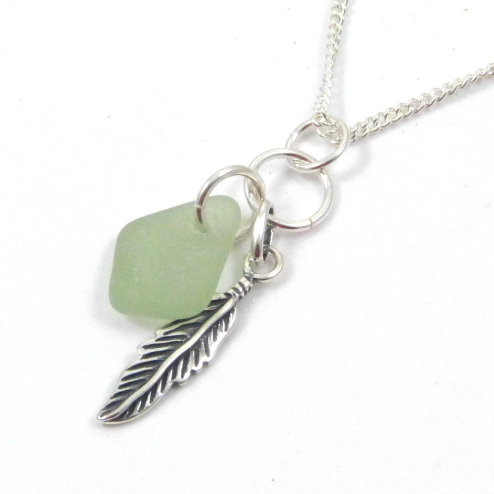 Deep Seafoam Sea Glass and Sterling Silver Feather Cluster Necklace