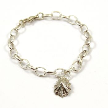 Sterling Silver Bracelet 7mm links with Solid Silver Limpet Shell Charm