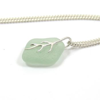 Seaspray Sea Glass And Silver Tendril Pendant Necklace HAYLEE