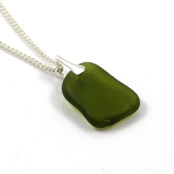 Moss Green Sea Glass and Silver Necklace REESE