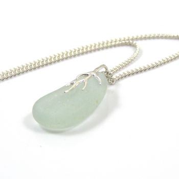 Seamist Sea Glass And Silver Tendril Pendant Necklace ERICA