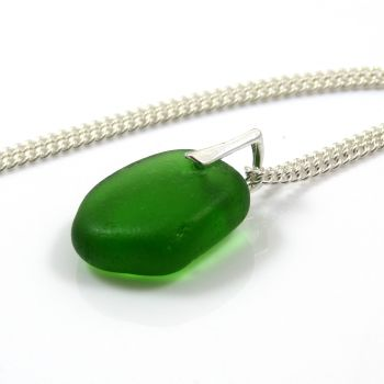 Emerald Green Sea Glass Necklace ZOE
