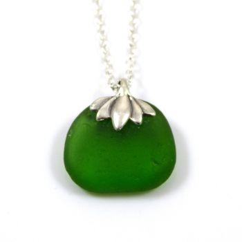 Emerald Green Sea Glass Necklace NICOLE