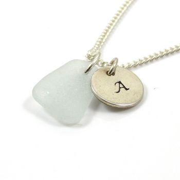 Seamist Sea Glass and Personalised Initial Silver Disc Necklace