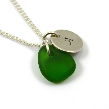 Kelly Green Sea Glass and Sterling Silver Initial Disc Necklace