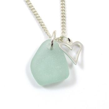 Pale Blue Sea Glass and Sterling Silver Open Heart Charm Necklace