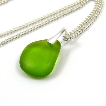 Rare Bright Lime Green Sea Glass Necklace ISABEL