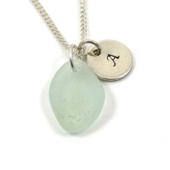 Seafoam Sea Glass and Personalised Initial Silver Disc Necklace