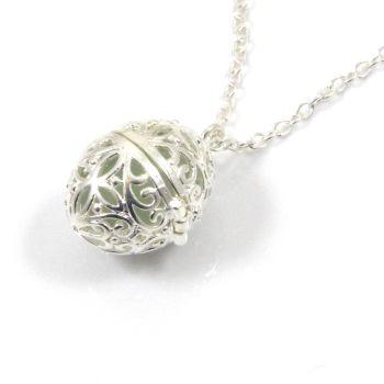 Seafoam Sea Glass Filigree Egg Locket Necklace
