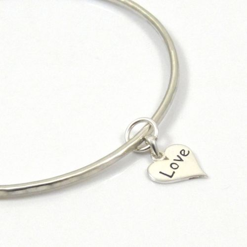 Sterling Silver Hammered Bangle with Love Heart Charm