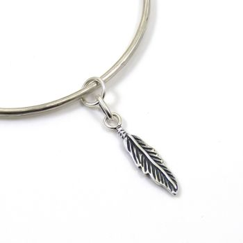 Sterling Silver Hammered Bangle with Feather Charm