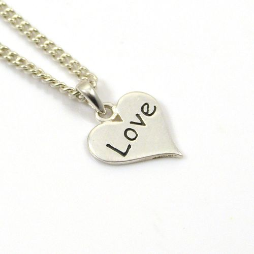 Sterling Silver Heart Necklace, Tiny Heart Charm Necklace, Heart Jewellery
