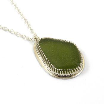Sterling silver bezel set sea glass pendant necklace, AILEANA